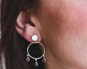 Frida Hoops | Sterling Silver Hoops with Post/Stud and Pear-Shaped Rhodolite (Pink Garnet)