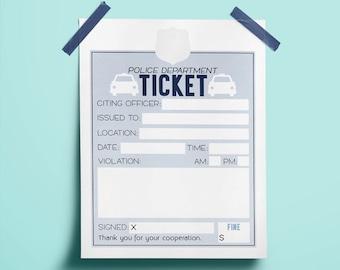 Kids Police Tickets Printable | Pretend Play | Kids Activity | Police Party Printables | Police Party Favors | Homeschool | Police Officer