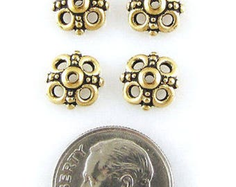 TierraCast Pewter Bead Caps-Antique Gold Clover (4)