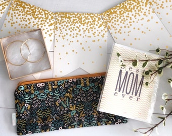 Tapestry Midnight Zipper Pouch | Rifle Paper Company Pencil Pouch | Make Up Bag