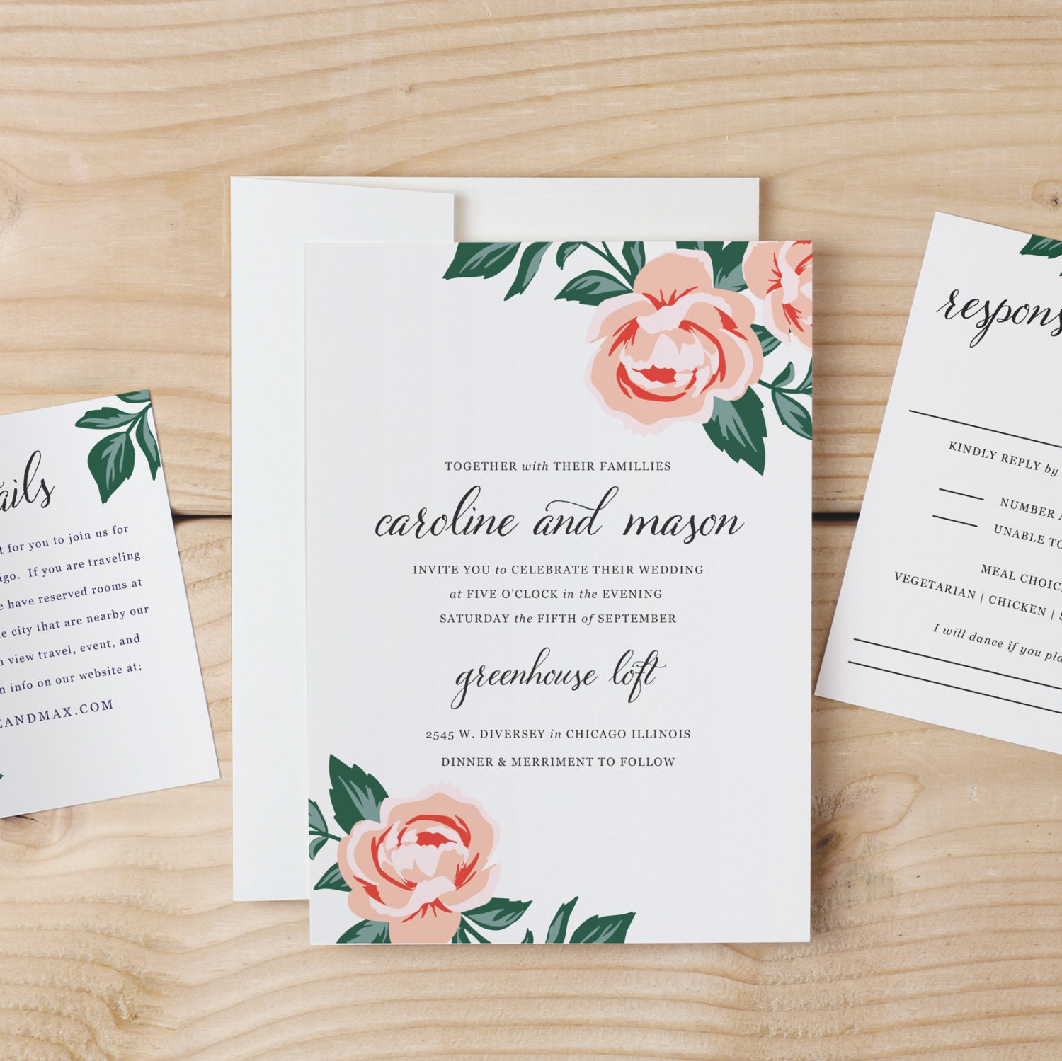 Wedding Invite Printing: DIY Wedding Invitation Template Colorful Floral Word Or