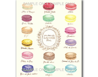 Macaron art Poster : PRINTABLE FILE, laduree print, laduree macarons, food art, kitchen decor, macaron print, Laduree, food art, food print