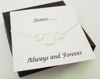 Large Triple Circle Infinity Silver Bracelet ~~Personalized Jewelry Gift Card for Sister, Friend, Best Friend, Sister in Law, Bridal Party