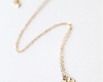 Gold Filled Hammered Disc Necklace | Delicate Hammered Circle Necklace | Bridesmaid Jewelry
