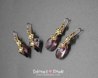 Swarovski Pendants Earrings Tutorial - Charming Crystals Earrings - Beading Pattern