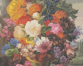 Floral Cross Stitch Kit, Grandmother's Bouquet Cross Stitch, Joseph Nigg, Embroidery Kit, Art Cross Stitch