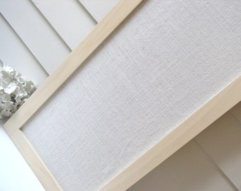 Burlap Bulletin Board Danish Modern MAGNETIC Organizer 13 x 35 Narrow Skinny Framed Magnet Board Ivory Burlap Fabric Light Hardwood Frame