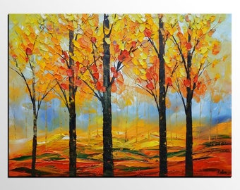 Landscape Painting, Autumn Tree Painting, Abstract Painting, Canvas Art, Abstract Canvas Painting, Original Painting, Wall Art, Large Art
