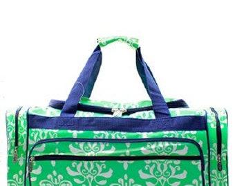 Mint Damask Large Duffel Bag w/ Monogram Option