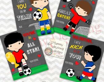 Soccer Valentine Cards for boys, Valentines Day cards for kids,  DIY Printable  Valentine, Football Valentine for school classmates