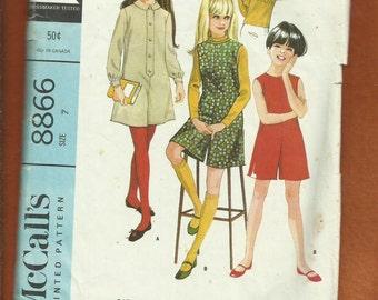 1967 McCalls 8866 Retro Pantdress & Pantjumper for  Mod Girls Size 7