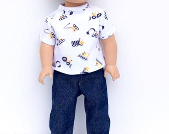 Boy Doll T-Shirt and Blue Jeans, White T-Shirt with Construction Vehicles, 18 Inch Boy Doll Clothes