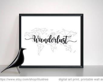 Wanderlust art print, geometric world map, minimalistic wall art, digital art, black and white, 8x10, 11x14, 20x16, instant download