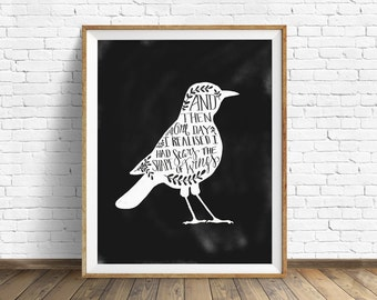 "black and white art, wall art prints, printable art, instant download, quote prints, quote wall art, birds, drawing - ""The Shape of Wings"""