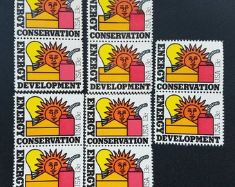 Ten (10) vintage unused postage stamps - Energy Conservation // 13-cent stamps // Face value 1.30