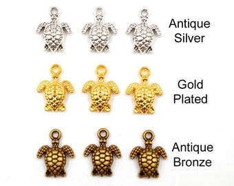 6 Antique Silver, Gold Plated Or Antique Bronze Turtle Charms - 21-7-3