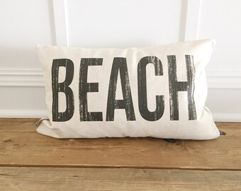 Distressed BEACH Pillow Cover