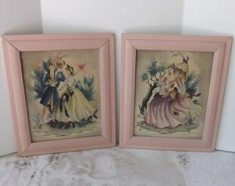 Vintage Bernard print Victorian couple Southern belle pair set of 2 framed wall art in blush pink frames
