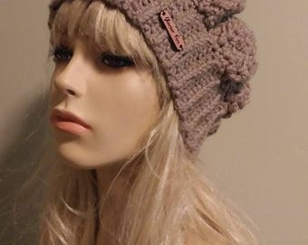 Slouchy Knit Beanie / Taupe Light Brown / Beret Hat/ Boho Slouchie Ear Warmer