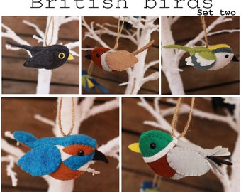 British birds set two PDF pattern, sewing, sew your own, diy, wool, felt, black bird, partridge, kingfisher, mallard, goldcrest, tutorial