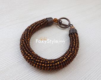 Brown beaded bracelet boho brown bracelet beadwork brown bracelet dark brown elegant bracelet light brown bracelet chocolate brown bracelet