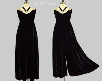 Velvet Palazzo Jumpsuit S Vintage 60s Jane Martin Wide Leg Pants ~ Antique Lace Collar