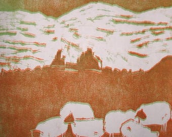 Engraving print on wood sheep Irish