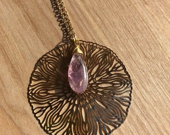 Gold filigree pendant and wire wrapped amethyst briolette necklace, gold chain necklace, gemstone necklace
