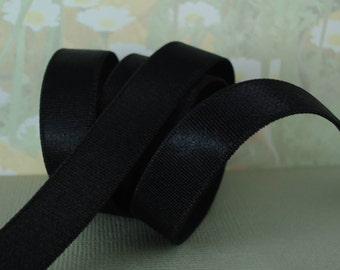 "2yds Black Elastic Satin 5/8"" inch Shiny Stretch Bands diy Headbands lingerie elastic bra strap elastic"