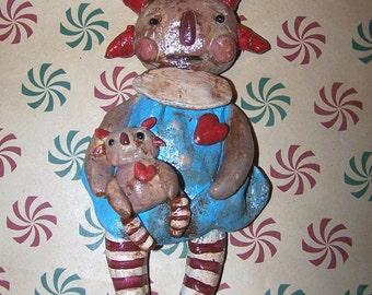 Primitive Folk Art Raggedy Doll w Baby Ornament Doll Ornie Ooak