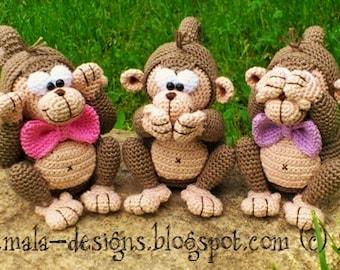 three monkeys - a crochet pattern by mala designs