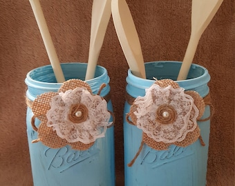 Hand painted kitchen utensil jars, kitchen decor, kitchen organization