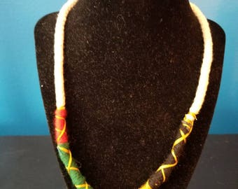 Ethnic thread wrapped rope necklace