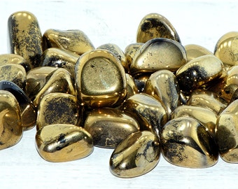 Polished Gold Titanium Aura Quartz Tumbled - Stone for Prosperity & Creativity