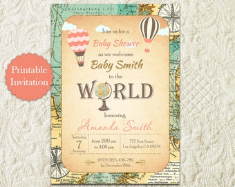 Hot Air Balloon Travel Baby Shower Invitation, Around The World Baby Shower Invitation, Map Globe Adventure Awaits Baby Shower Invitation