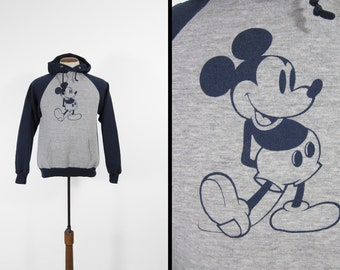 Vintage Mickey Mouse Hoodie 80s Sweatshirt Raglan Grey Blue Disney Made in USA - Small / M