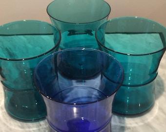 4 Handmade Hourglass Vintage Italian Aqua Glasses * Mid Century Glassware