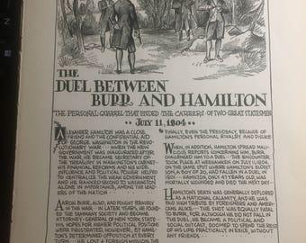 Hamilton Burr duel 1933 book page history print illustration . Art frameable history