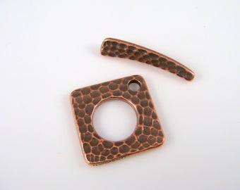 TierraCast Toggle Clasp, Antiqued Copper Toggle Clasp, 24mm Hammertone Square Toggle Clasp, Copper Toggle Clasp, (TC-6121-18) Qty. 1