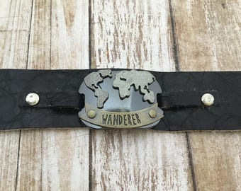 Men's black leather bracelet - men's bracelet - men's word bracelet - WANDERER bracelet -  handmade leather bracelet - biker bracelet - Gift