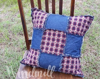 Americana Rag Pillow Cover, Patriotic Patchwork, Denim Home Decor, Windmill Country Threads