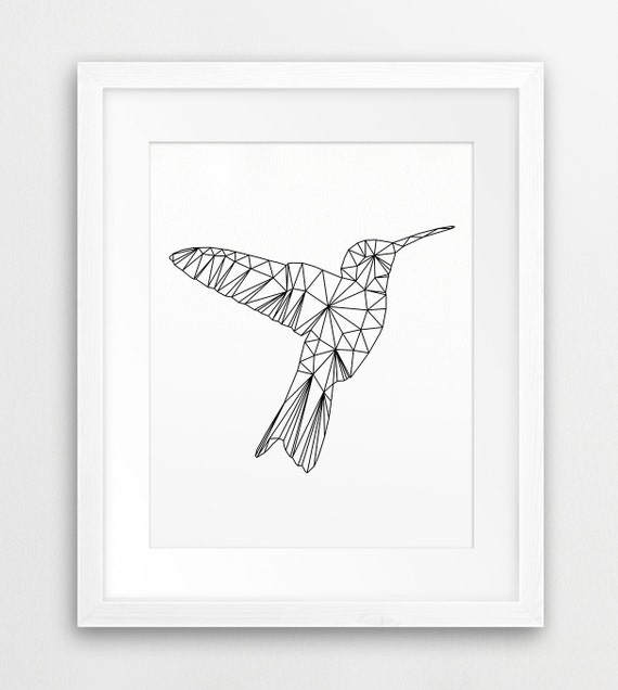 Hummingbird Geometric Printable File Colibri Bird Black And
