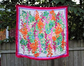 Vintage floral scarf, vintage square scarf by Eastman Manufacturing Co.