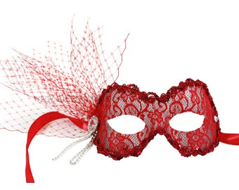 McKenna Tulle and Rhinestone Women's Red Masquerade Mask - A-2506R-R