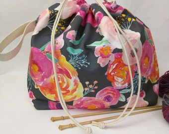 Large Super Draw Project Bag - Blushing Floral