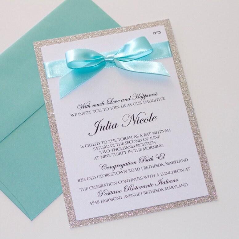 Bat Mitzvah Invitations Glitter Invitation Elegant