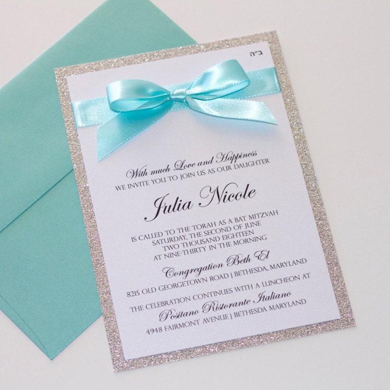 Bat mitzvah invitations glitter invitation elegant zoom stopboris Image collections