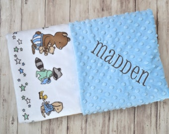 Monogrammed Baby Blanket, Minky Animals on Parade, Personalized, Light Blue Blanket with Name, Mint, Gray, Yellow, Bear, Fox, Raccoon, Boy