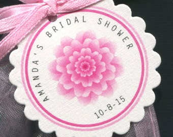 Personalized Bridal Shower Favor Tags - Wedding Favor - Bridal Shower Tags - Gift Tag - Wedding Tags - Personalized Tag - Pink Flower - 40
