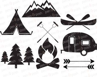 Camping SVG - Camping Clip Art - Camping Vector - SVG Files for Cricut - Campfire  Camper  Camp  Camping